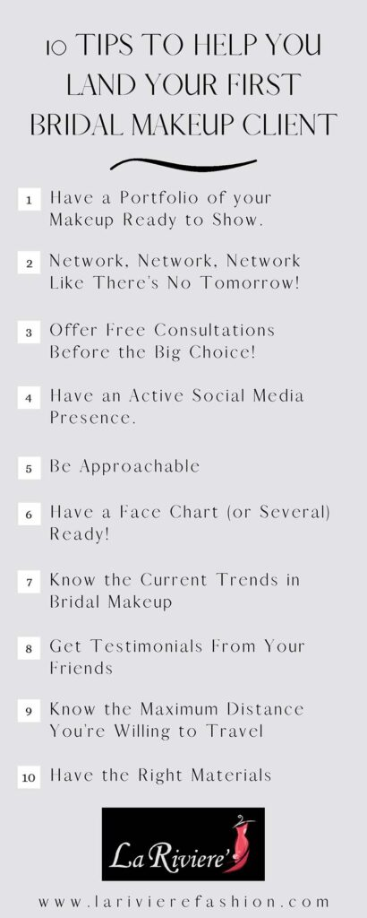 bridal makeup client - 10 Tips to Help you land your first Bridal Makeup Client infographic