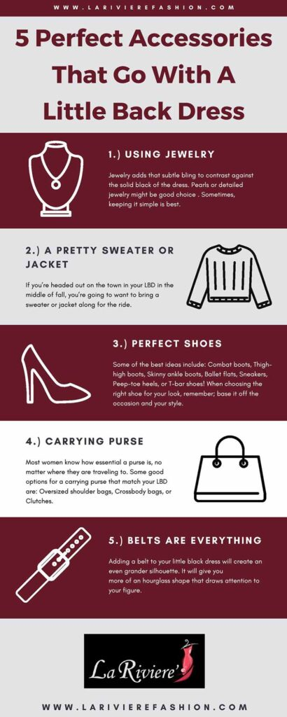 Accessories that go with a little black dress - 5 Perfect Accessories That Go With A Little Back Dress infographic