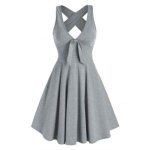 Bowknot Plunging Neckline Crisscross Dress