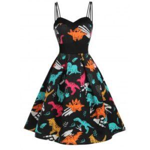Dinosaur Print Dual Strap Dress