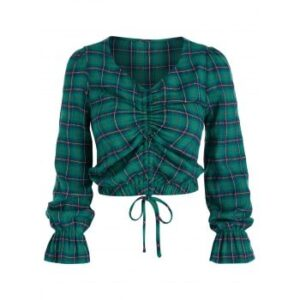 Plaid Print Cinched Cropped Blouse