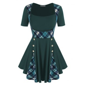 Plus Size Plaid Buttoned Skirted T Shirt
