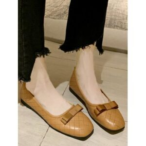 Square Toe Bow Stitching Flat Shoes