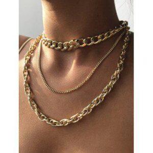 3Pcs Thick Chain Hip Hop Necklace Set