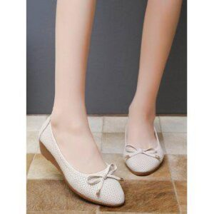 Almond Toe Bowknot Low Wedge Heel Shoes