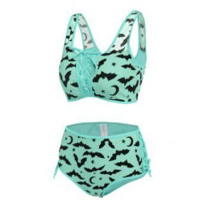 Bat Crescent Mesh Lace-up Bikini Set
