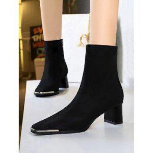Block Heel Metal Square Toe Suede Boots