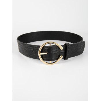 C Shape Pin Buckle Textured Belt