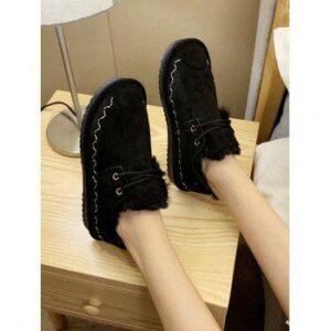 Casual Lace Up Faux Fur Flat Shoes
