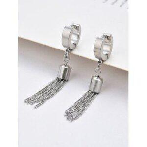 Chain Tassel Stainless Steel Small Hoop Earrings