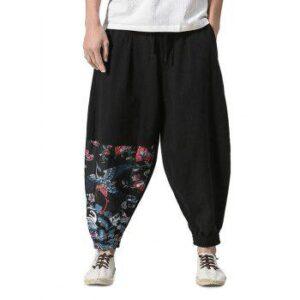 Chinoiserie Print Jogger Pants