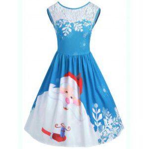 Christmas Lace Insert Santa Claus Print Party Dress