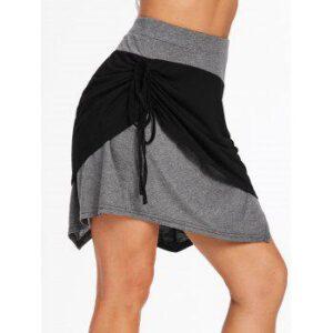 Cinched Asymmetrical Two Tone Mini Skirt