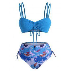 Cinched Ribbed Butterfly Print Bikini Swimwear