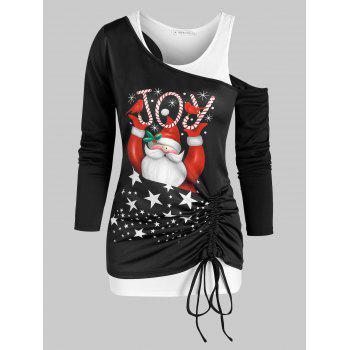 Cinched Santa Claus Print Christmas T Shirt and Racerback Tank Top Set