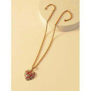 Cracked Heart Pendant Rhinestone Necklace