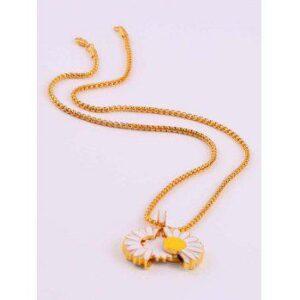 Daisy Flower Glazed Opening Pendant Necklace