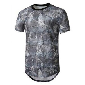 Denim Patch Print Curved Longline T Shirt