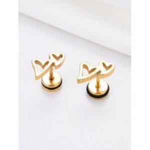 Double Hollow Heart Stainless Steel Stud Earrings