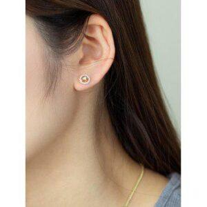 Engraved Leaf Round Zircon Stud Earrings