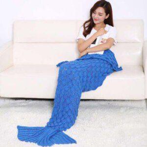 Fish Scale Tail Shape Sleeping Bag Knitting Mermaid Blanket