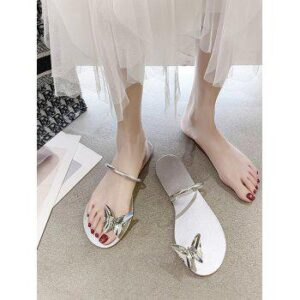 Flat Butterfly Toe Loop Slides Sandals