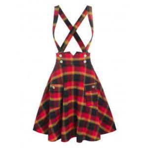 Front Pockets Crisscross Suspender Skirt