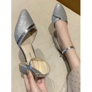 Glitter Pointed Toe Ankle Strap Sandals
