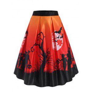 Halloween Moon Bat Print Midi Skirt