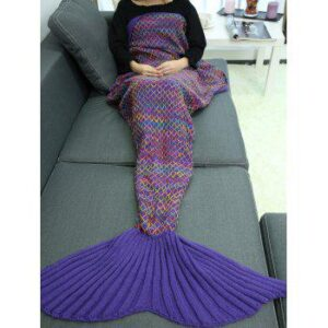 Handmade Crochet Rhombus Design Sleeping Bag Mermaid Blanket