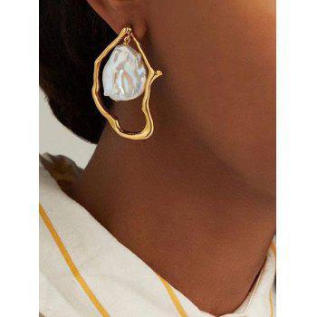 Irregular Hammered Faux Pearl Drop Earrings