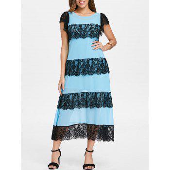 Lace Panel Layered Midi Dress with Slip Dress