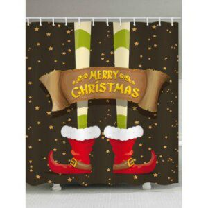 Merry Christmas Boots Star Printed Waterproof Shower Curtain