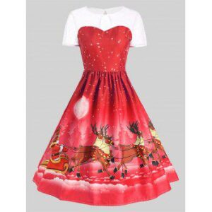 Mesh Panel Christmas Santa Claus Sleigh Party Dress