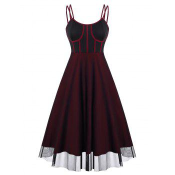 Piping Mesh Overlay Bustier Dress