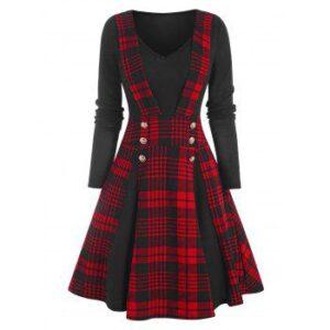 Plaid Mock Button Jersey Dress