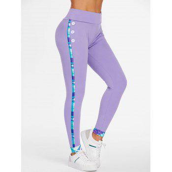 Plaid Mock Button Skinny Pants