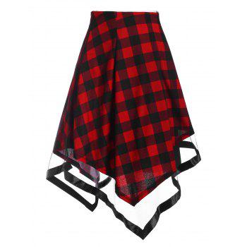 Plaid Tulle Overlay Asymmetric Skirt