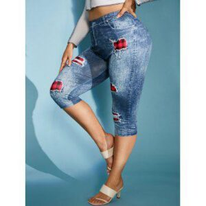 Plus Size 3D Ripped Jean Print Skinny Capri Jeggings