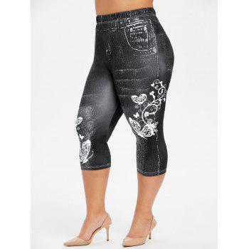Plus Size Butterfly 3D Jean Print Leggings