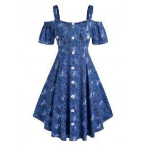Plus Size Cold Shoulder Denim Pattern Dress