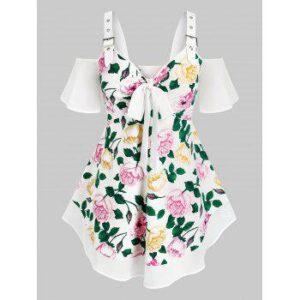 Plus Size Cold Shoulder Floral Print Bowknot Blouse
