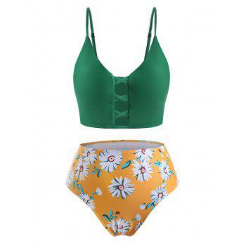 Plus Size Daisy Print Crisscross Bikini Swimwear