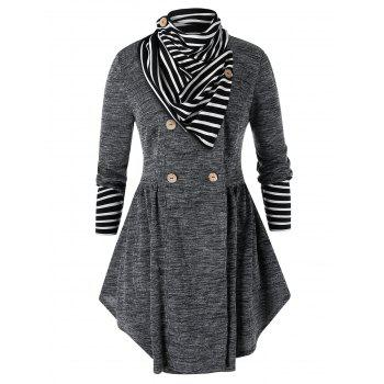 Plus Size Double Breasted Marled Skirted Cardigan With Striped Scarf