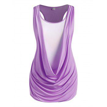 Plus Size Draped Racerback 2 In 1 Ruched Tank Top
