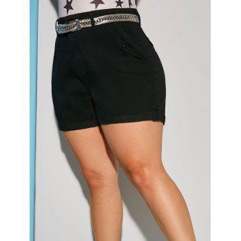 Plus Size Flap Pocket Cuffed Hem Denim Shorts
