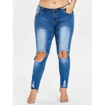 Plus Size Frayed Destroyed Skinny Jeans