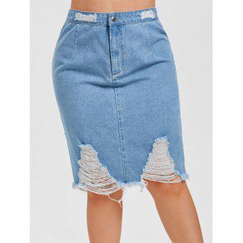 Plus Size High Rise Ripped Denim Skirt
