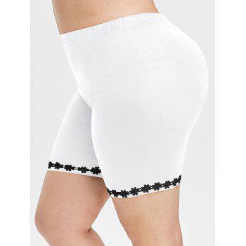 Plus Size Lace Applique Short Leggings