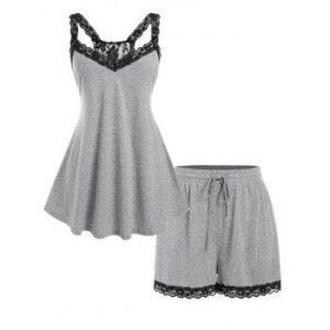 Plus Size Lace Panel Tank Top and Drawstring Shorts Pajamas Set